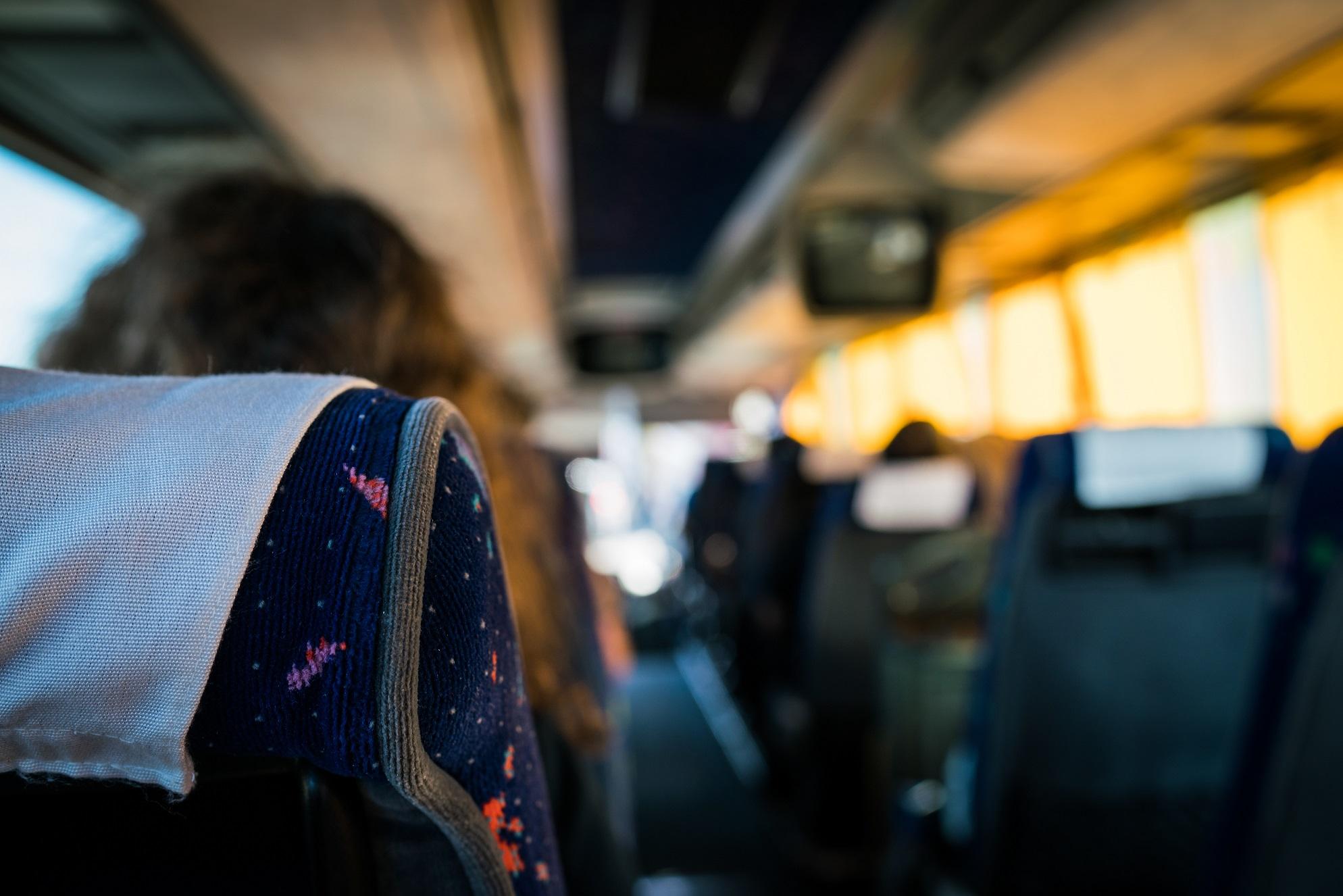bus ride close up inside a bus